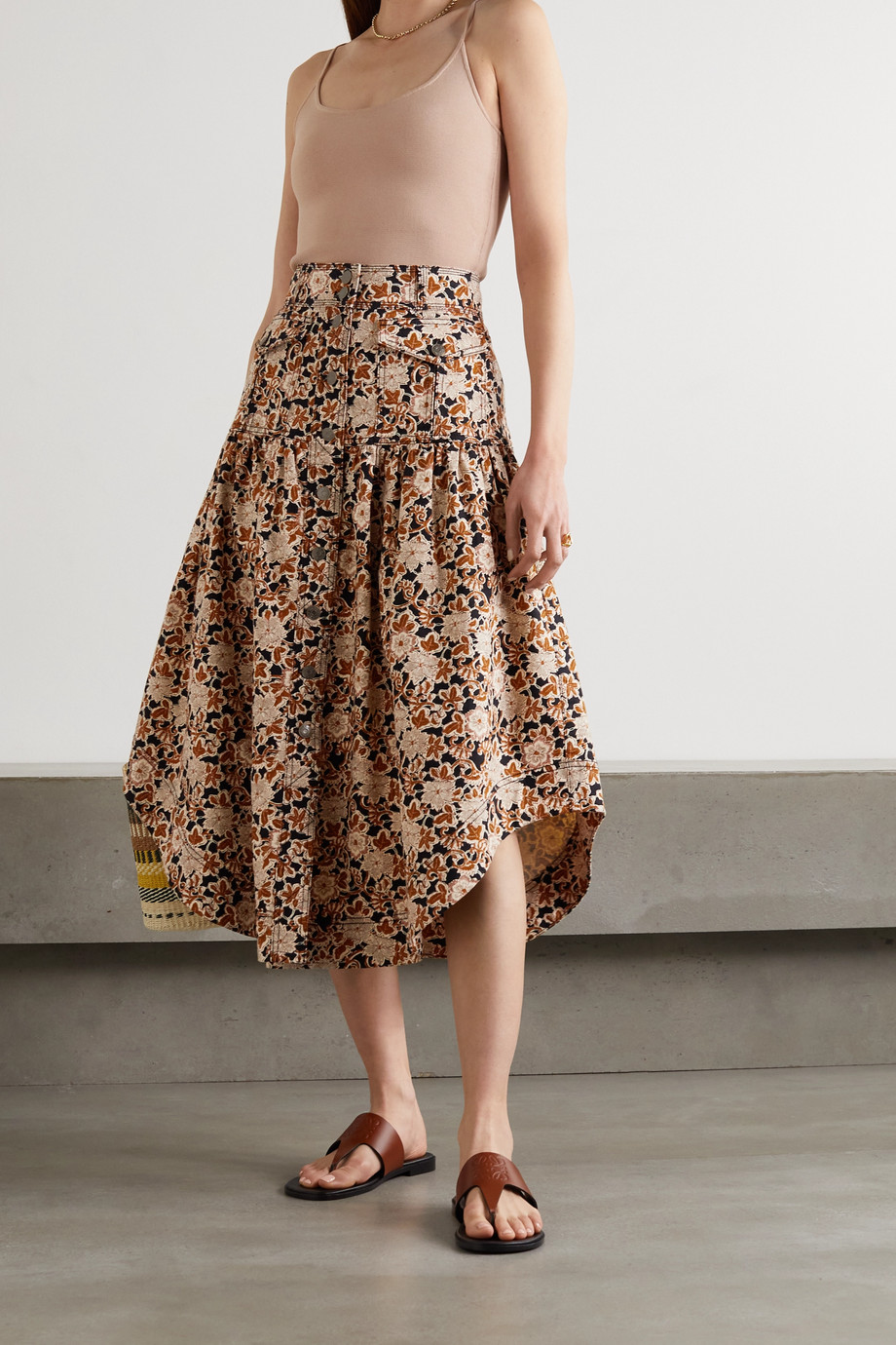 Ulla Johnson Briony floral-print denim midi skirt
