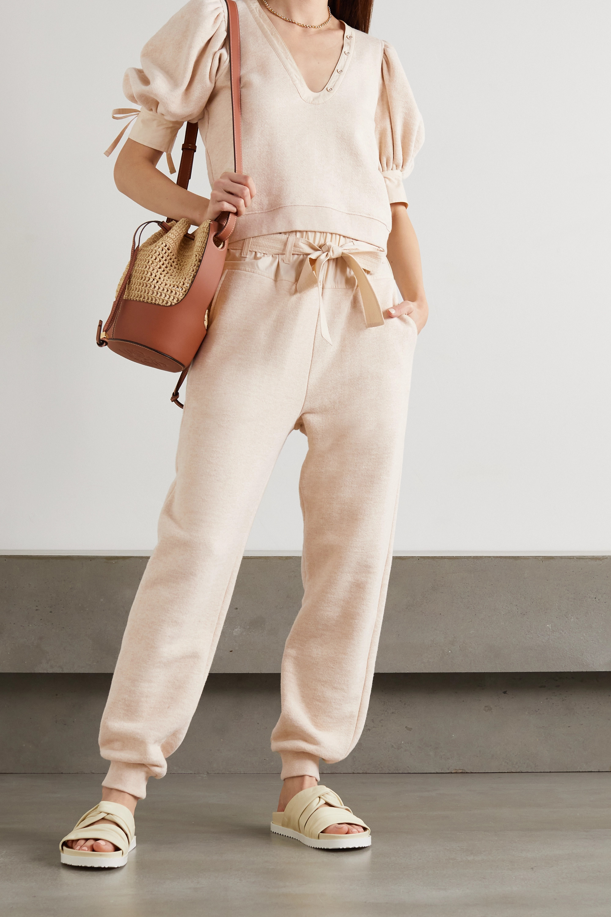 Ulla Johnson Haven belted cotton-jersey and poplin track pants