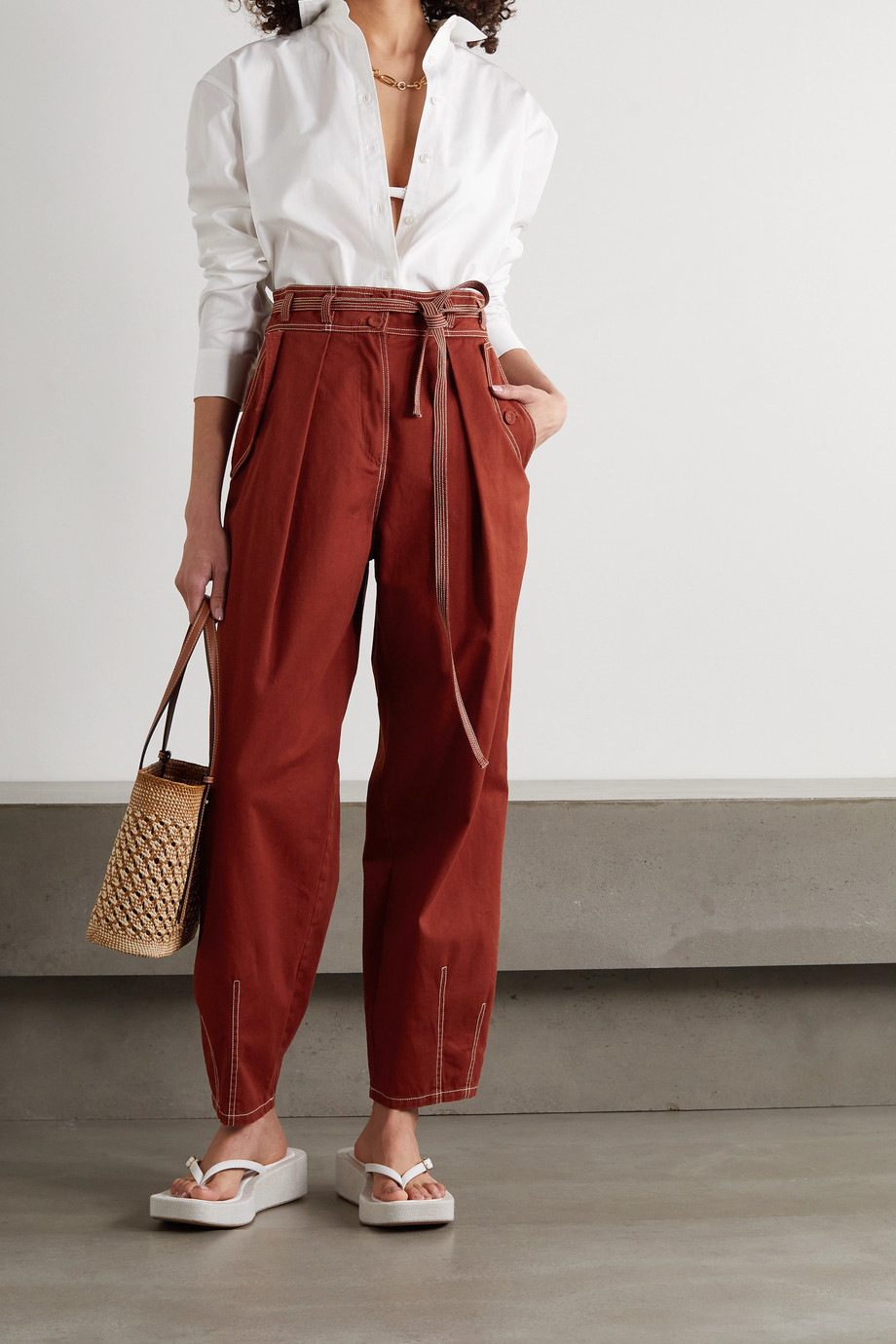 Ulla Johnson Lars pleated cotton tapered pants