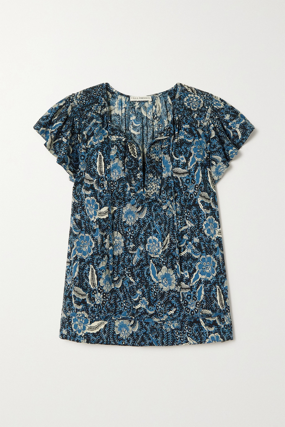 Ulla Johnson Shani ruffled printed cotton-blend blouse