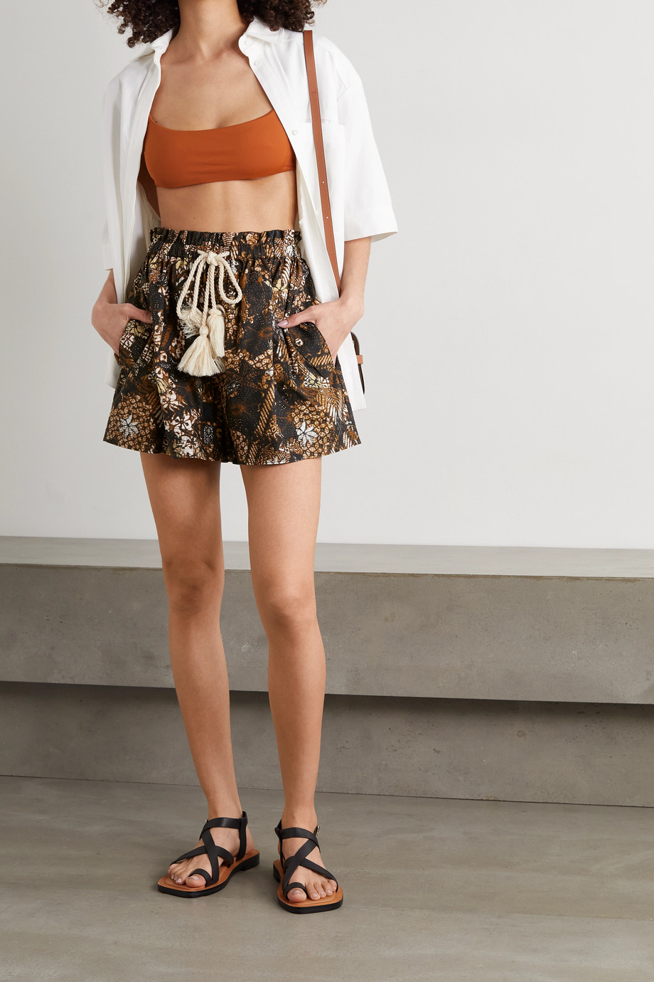 Ulla Johnson Andres belted printed cotton shorts