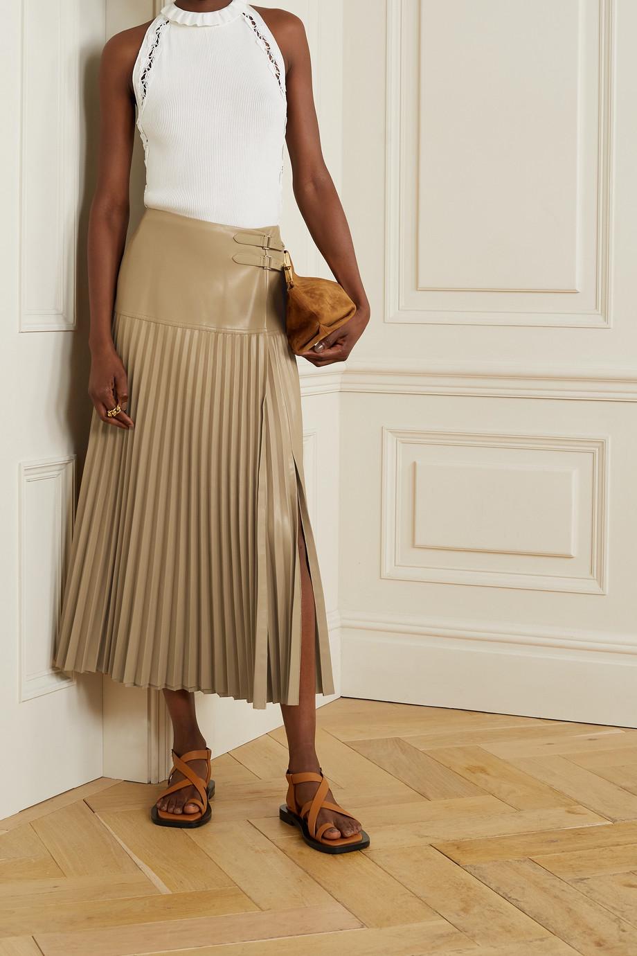 Jonathan Simkhai Jupe midi portefeuille en cuir vegan à plis Leona