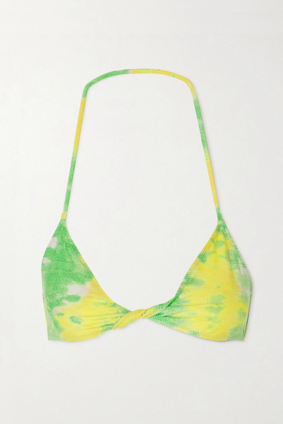 GANNI + NET SUSTAIN twist-front printed recycled bikini top