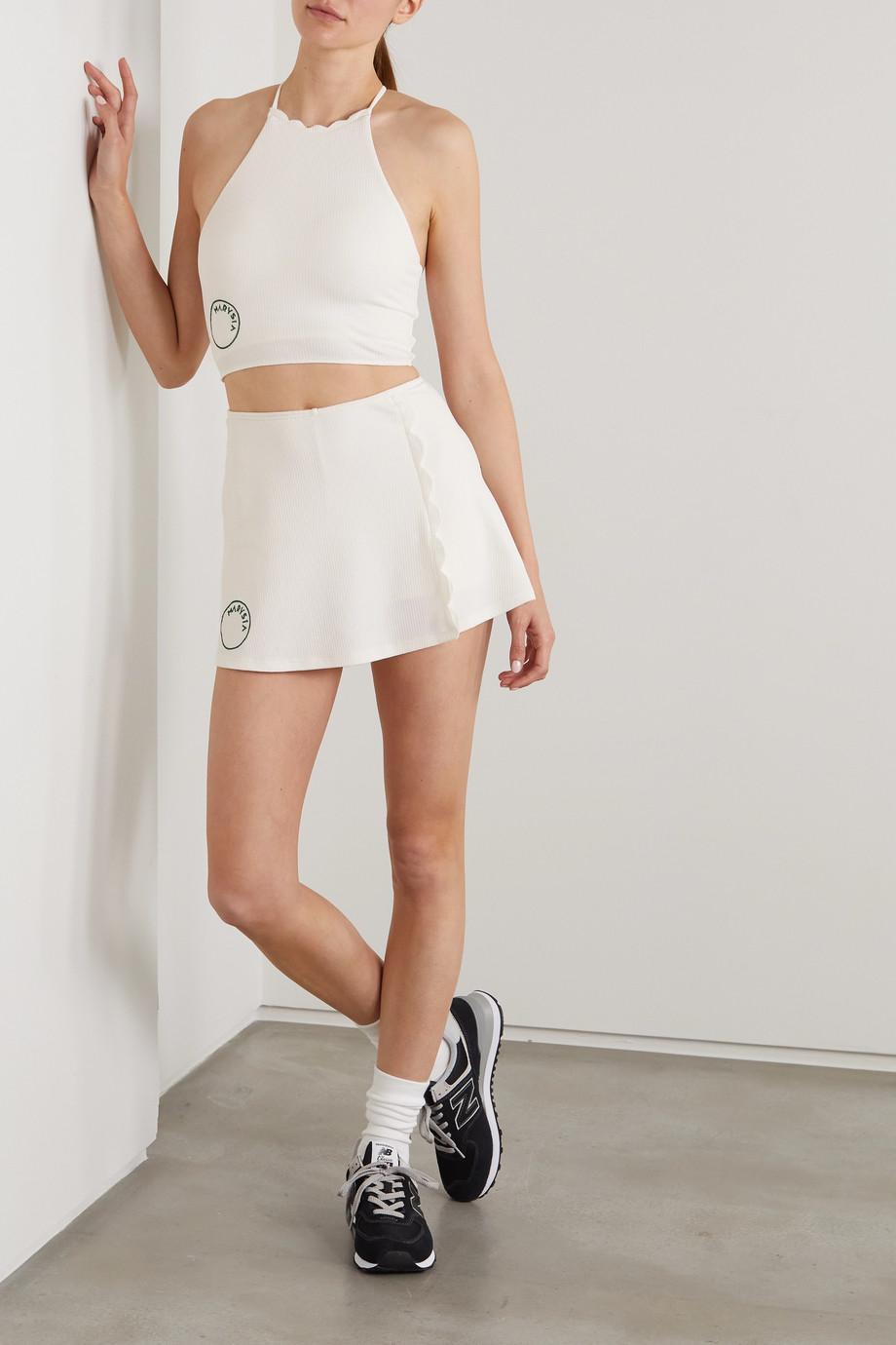 Marysia + NET SUSTAIN Steffi scalloped stretch recycled-seersucker sports bra