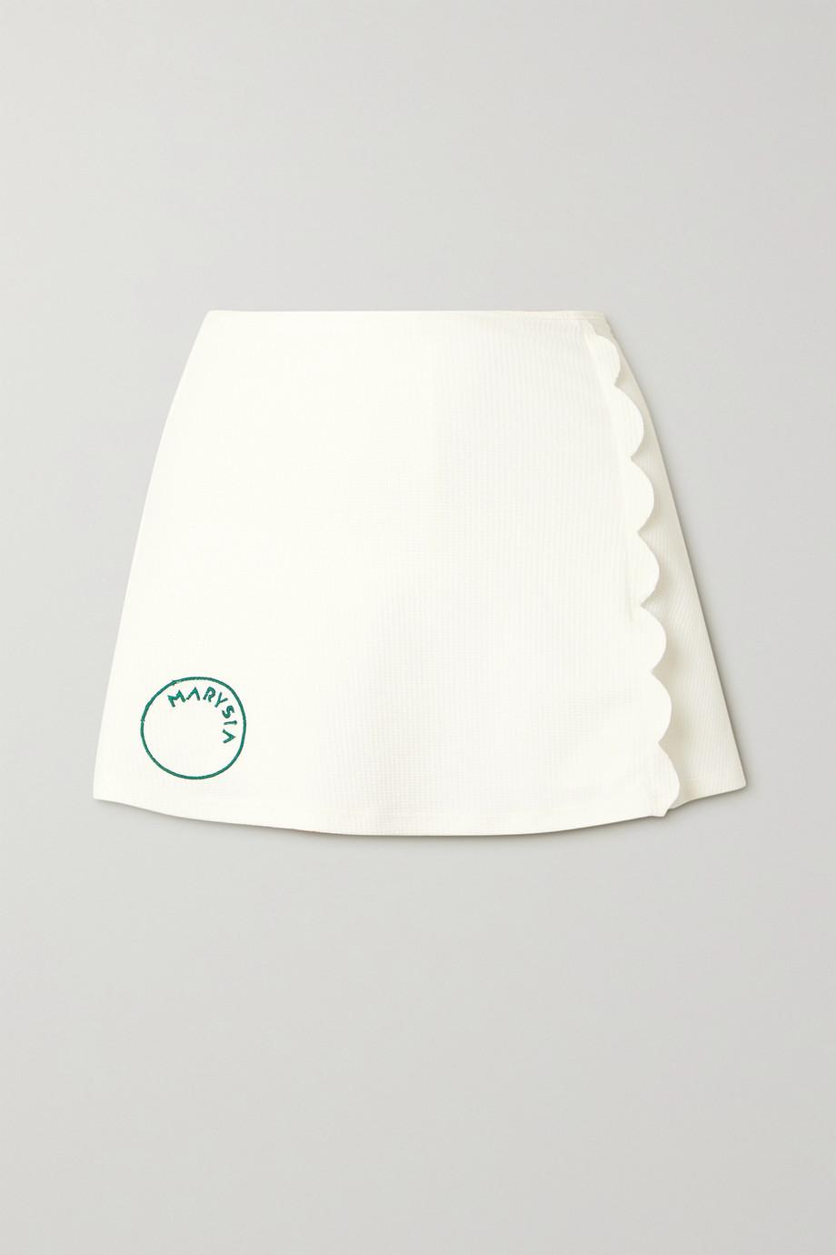 Marysia + NET SUSTAIN Steffi scalloped stretch recycled-seersucker tennis skirt