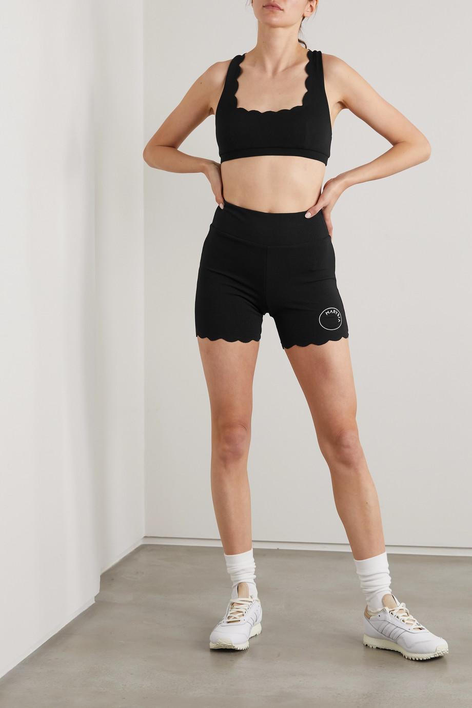 Marysia + NET SUSTAIN Serena scalloped stretch recycled-seersucker sports bra
