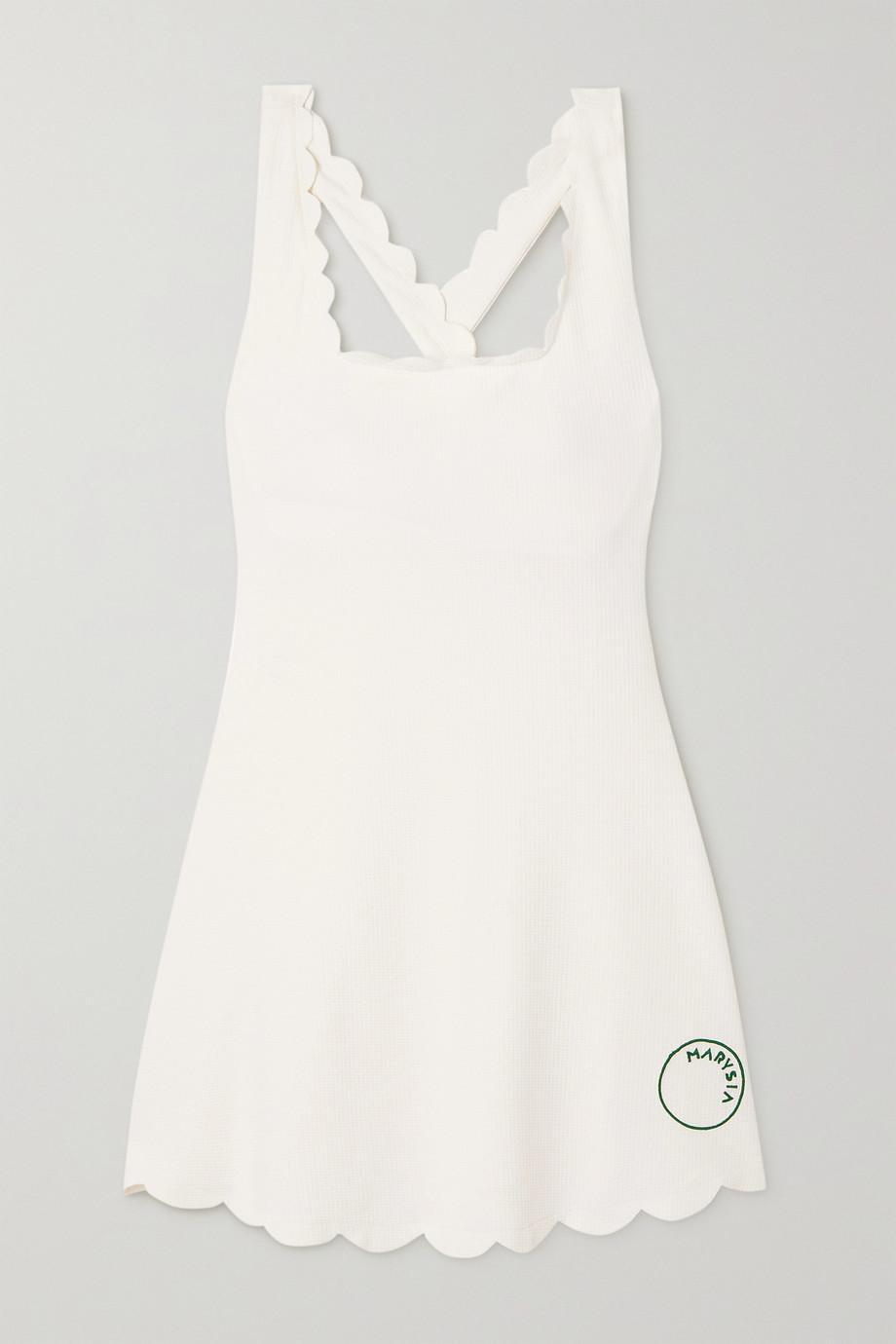 Marysia + NET SUSTAIN Serena scalloped recycled seersucker tennis dress