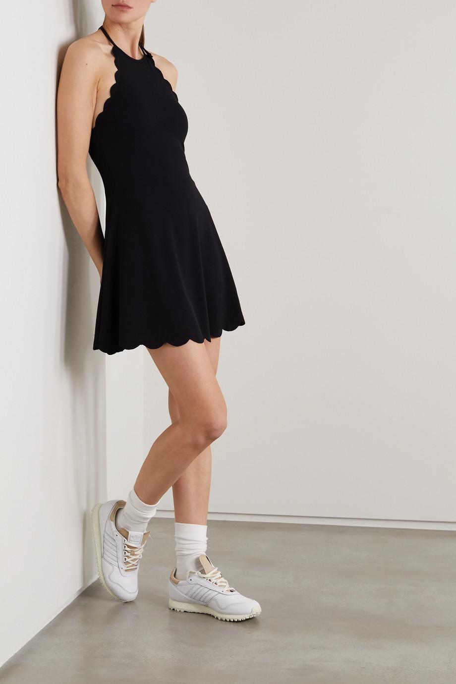 Marysia + NET SUSTAIN Bianca scalloped stretch recycled-seersucker halterneck tennis dress