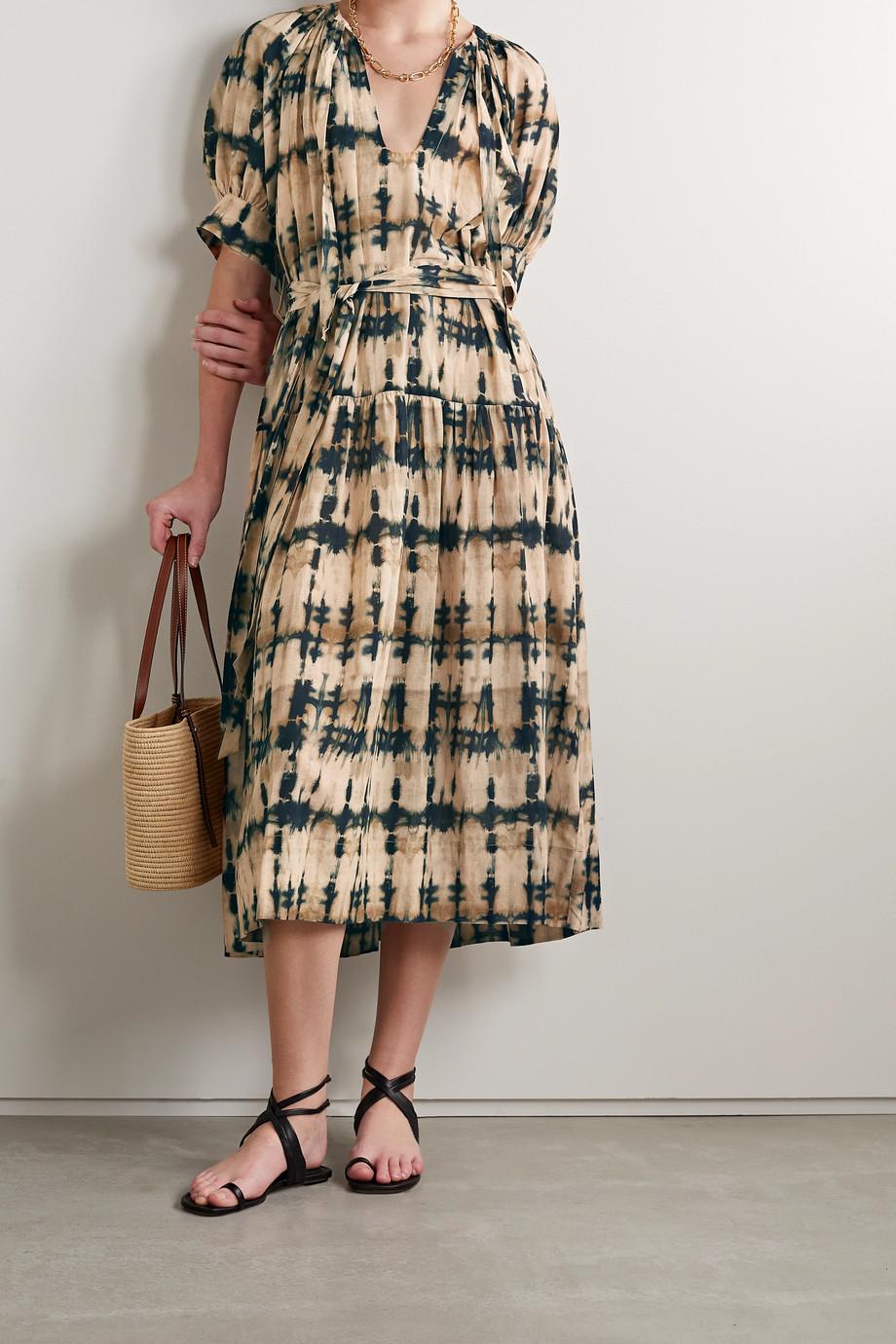 Ulla Johnson Selena tie-dyed cotton-blend voile midi dress
