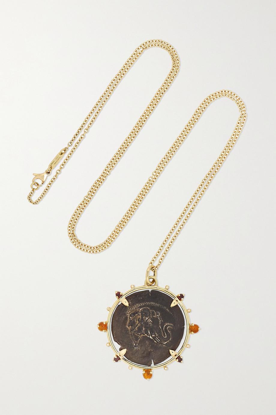 Dubini Demetrios 18-karat gold, garnet and citrine necklace
