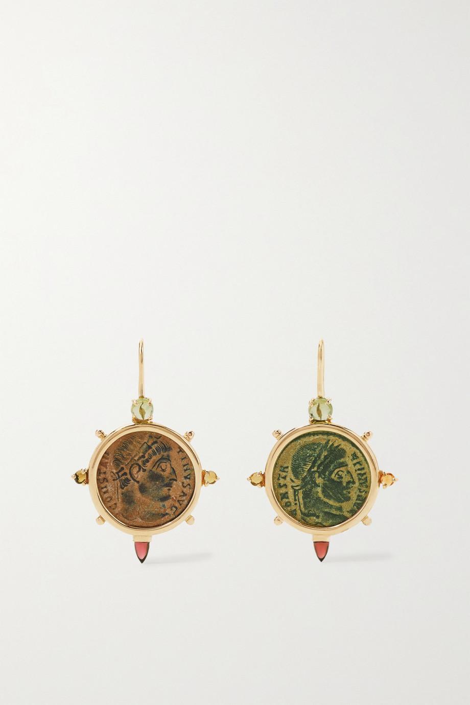 Dubini Boucles d'oreilles en or 18 carats, bronze et pierres multiples