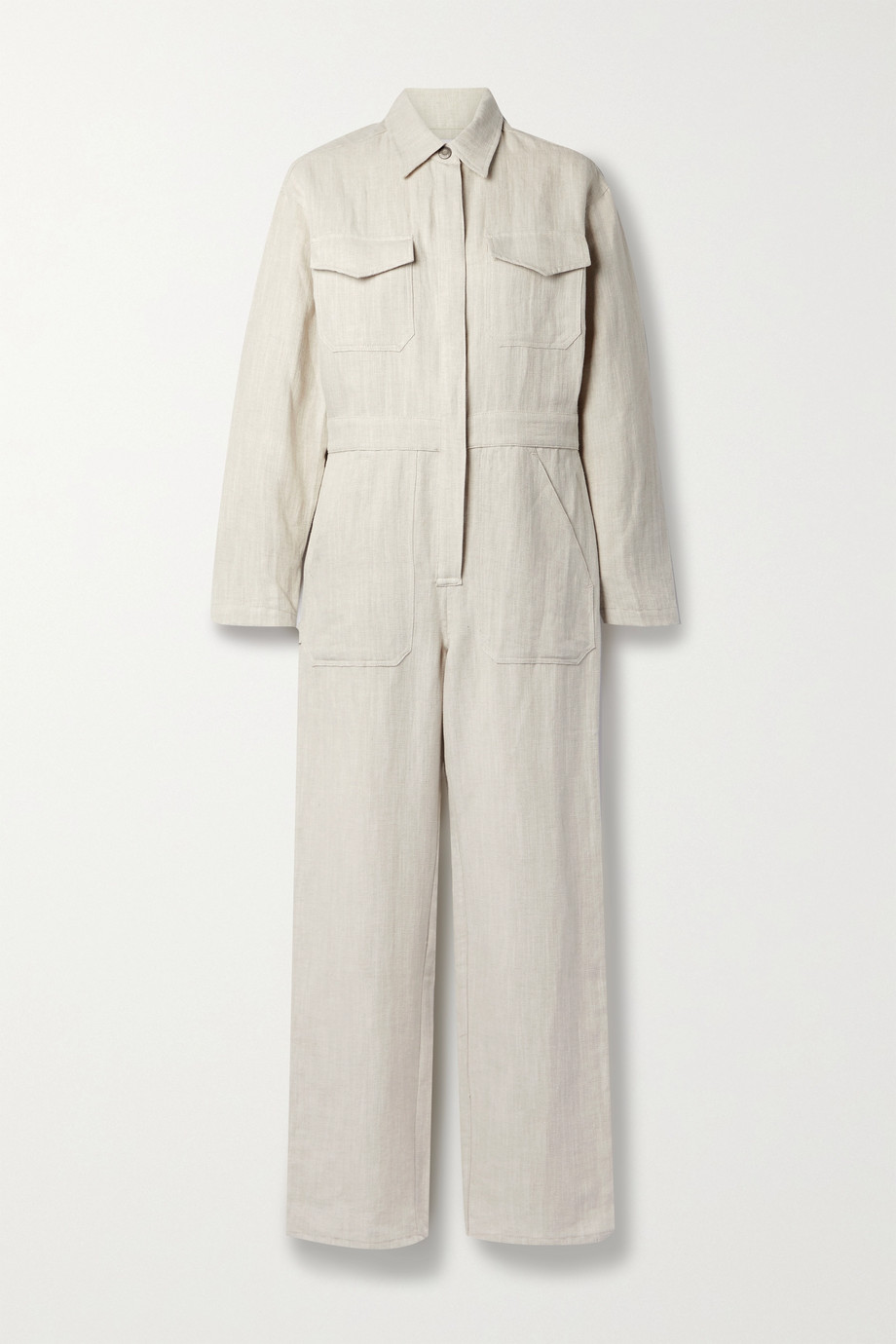 Rivet Utility + NET SUSTAIN Powerhouse herringbone linen and cotton-blend jumpsuit