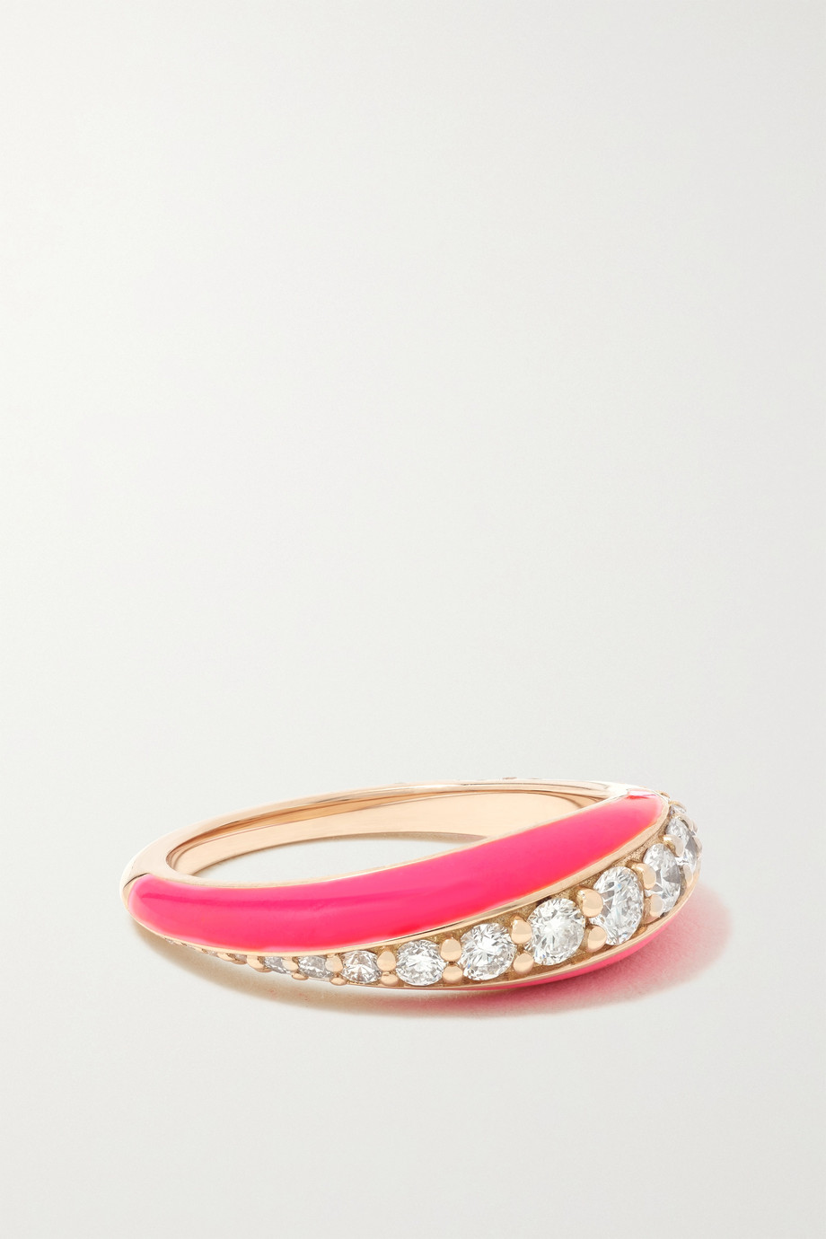 Melissa Kaye Remi 18-karat rose gold, diamond and enamel ring