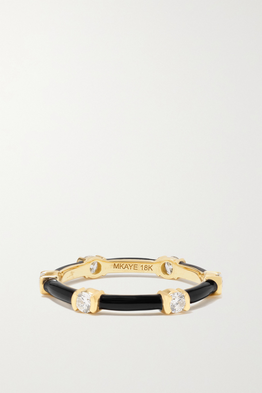 Melissa Kaye Zea 18-karat gold, enamel and diamond ring