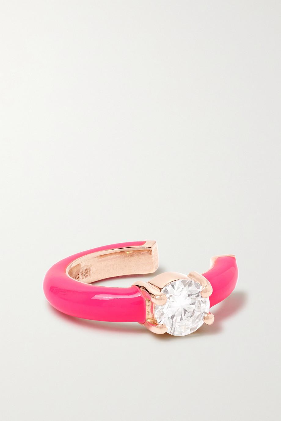 Melissa Kaye Aria U Ear Cuff aus 18 Karat Gold mit Emaille und Diamant