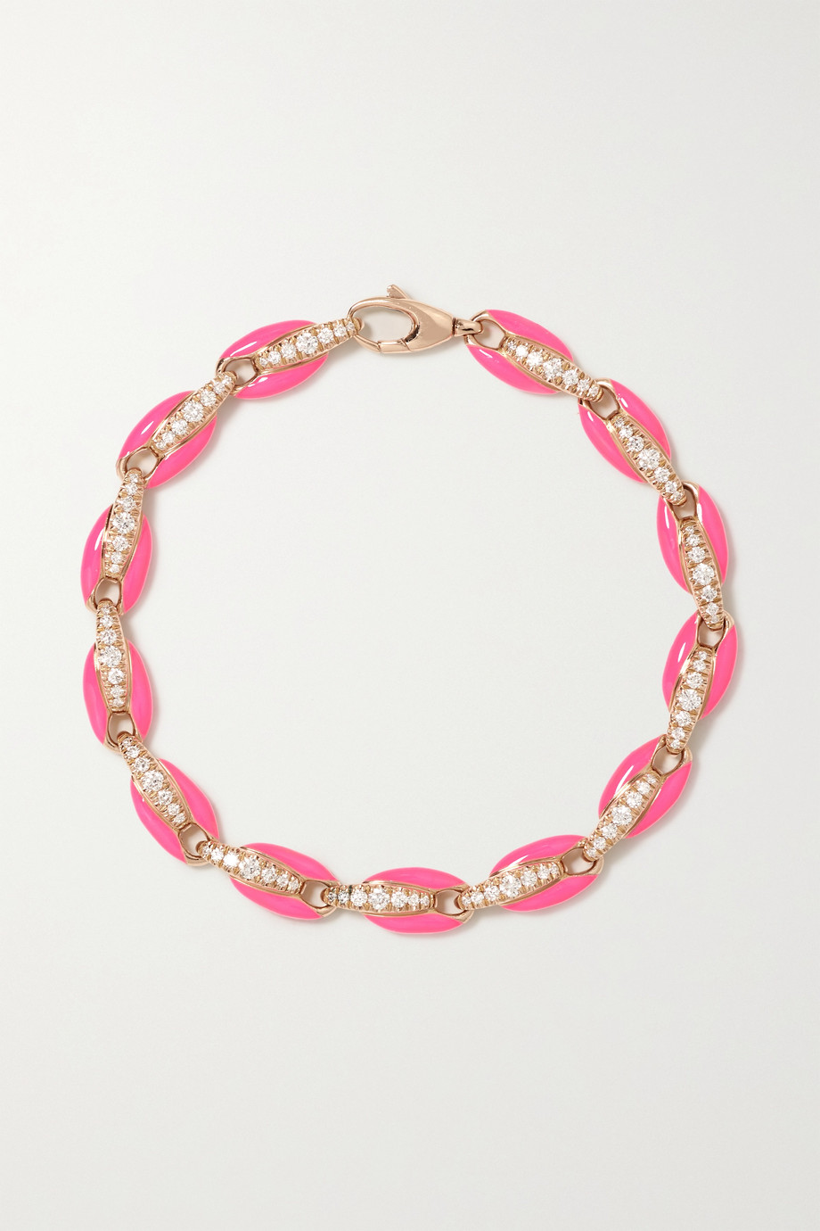 Melissa Kaye Ada 18-karat rose gold, diamond and enamel bracelet