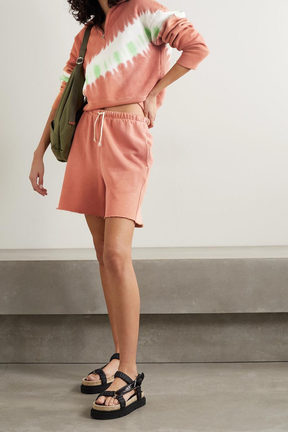RE/DONE + Hanes 80s Shorts aus Baumwoll-Jersey mit Fransen