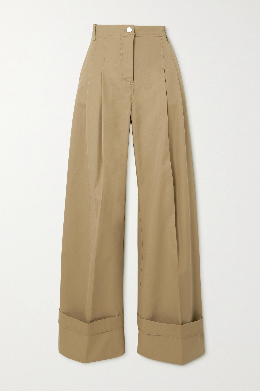 Victoria, Victoria Beckham Pleated cotton-twill wide-leg pants