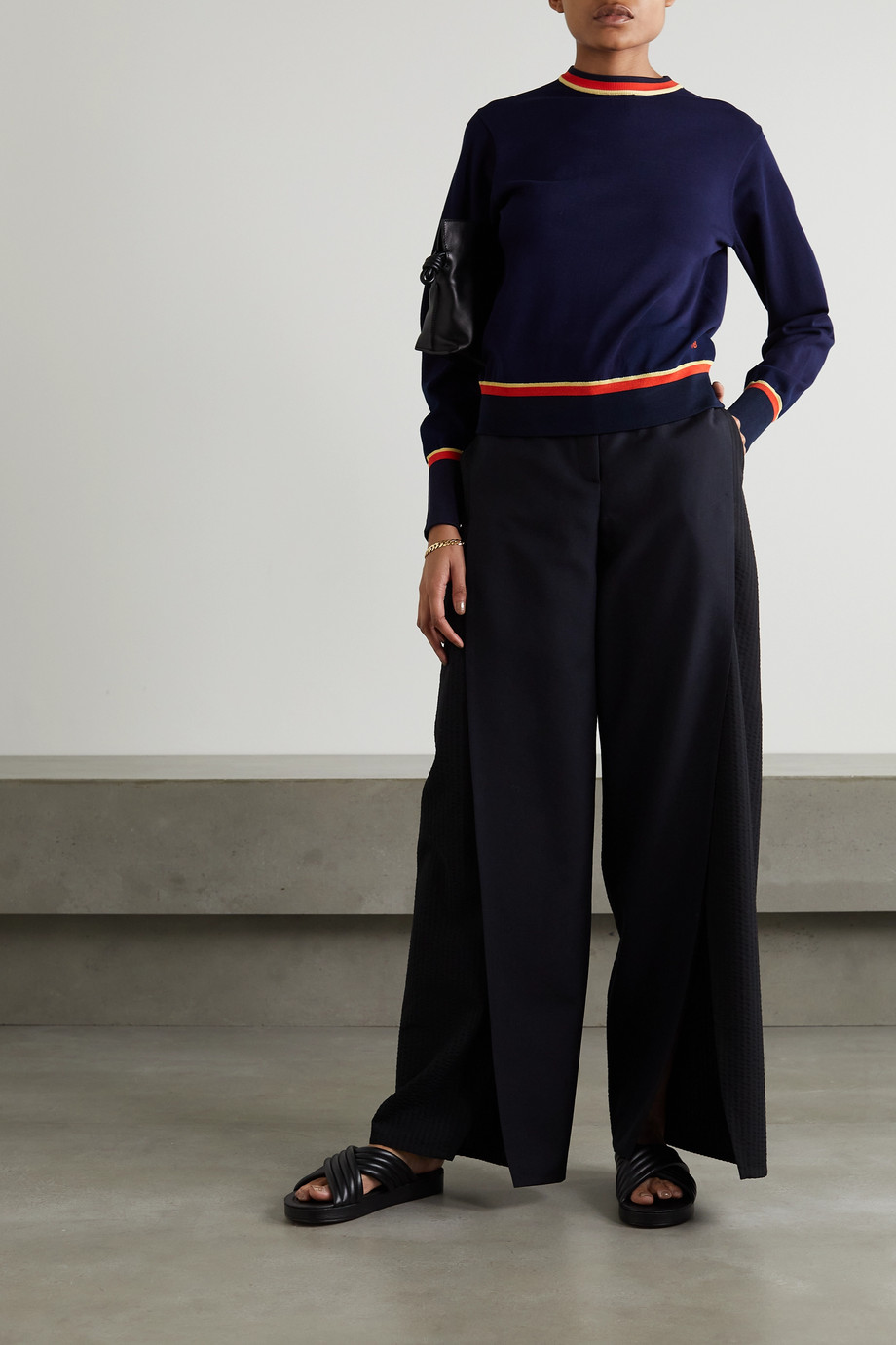 Victoria, Victoria Beckham Pullover aus Stretch-Strick mit Streifen