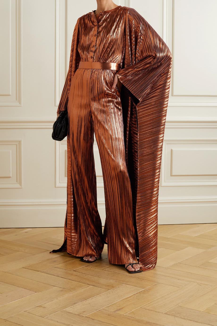 SemSem Combi-pantalon en lamé plissé à drapés et à ceinture