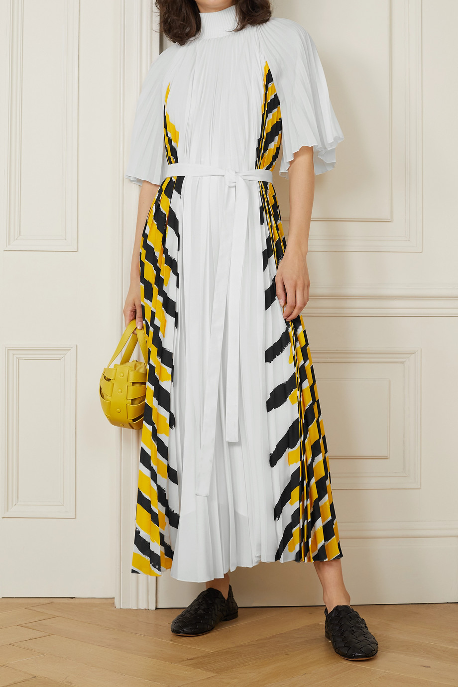 Proenza Schouler Belted pleated striped crepe de chine midi dress