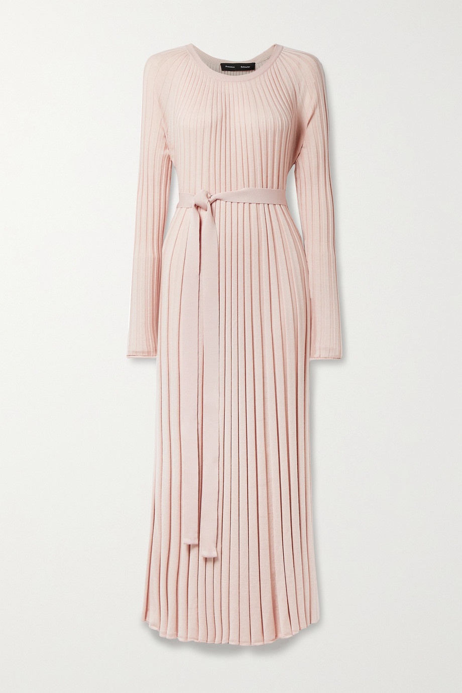 Proenza Schouler Belted pleated silk and cashmere-blend maxi dress