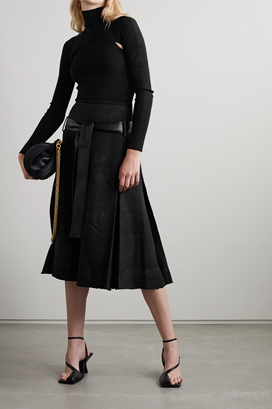Proenza Schouler Jupe midi en tweed à finitions en cuir synthétique