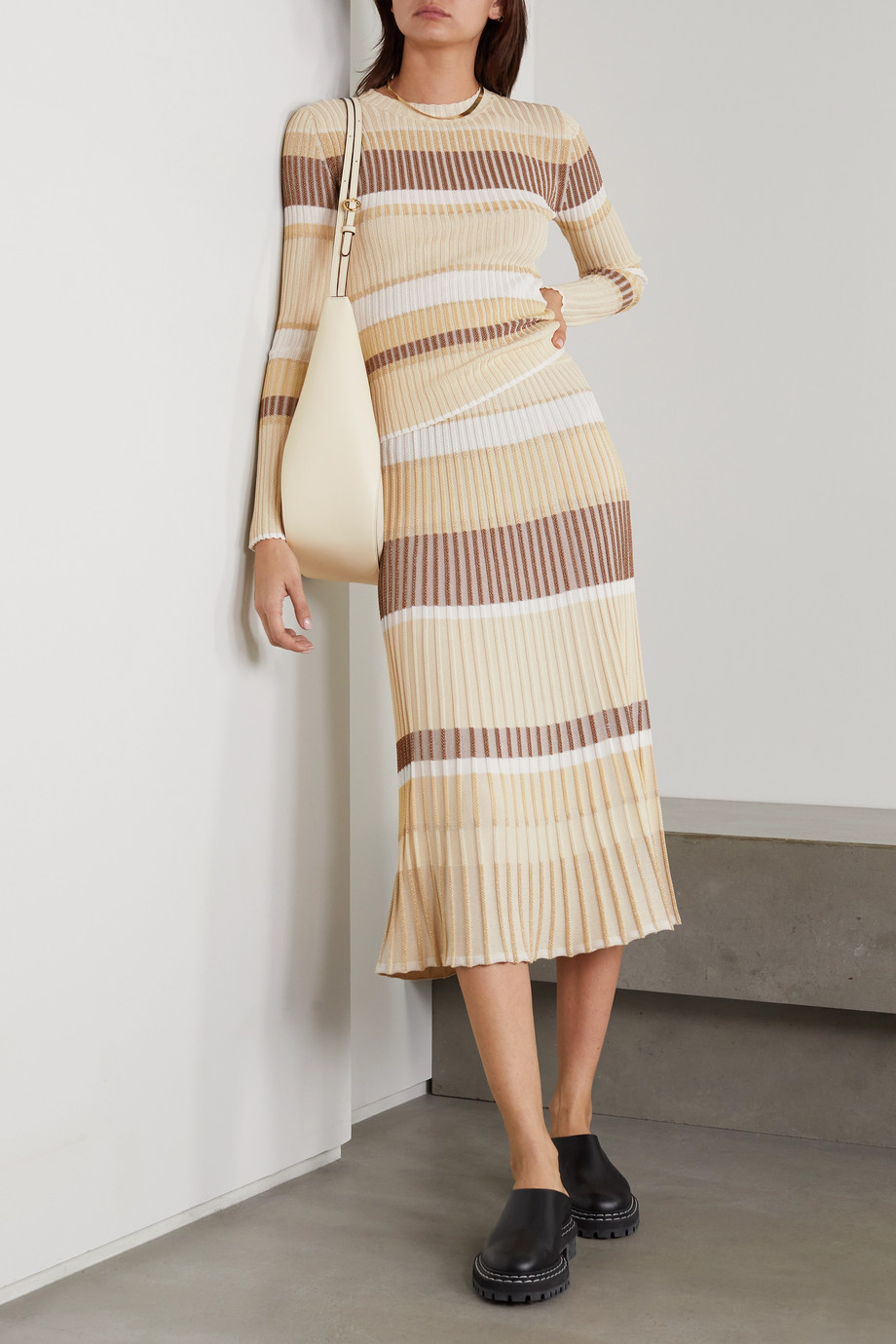 Proenza Schouler Metallic striped ribbed-knit midi skirt