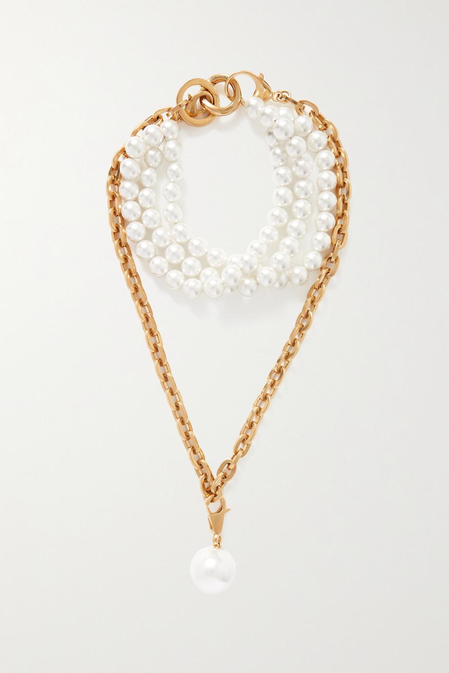 AZ Factory Gold-tone faux pearl necklace