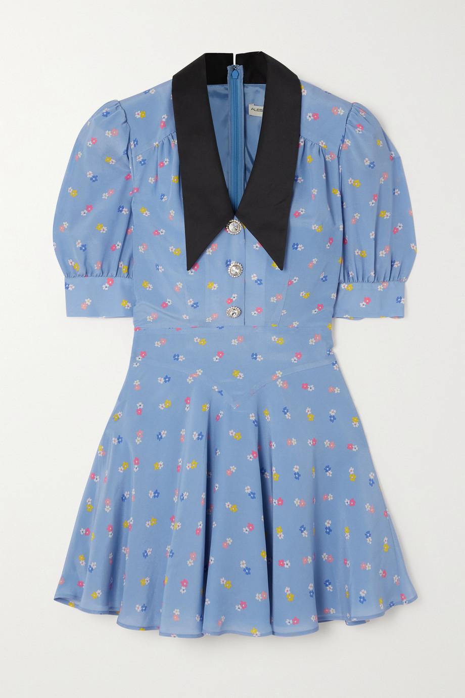 Alessandra Rich Floral-print wool-blend crepe mini dress