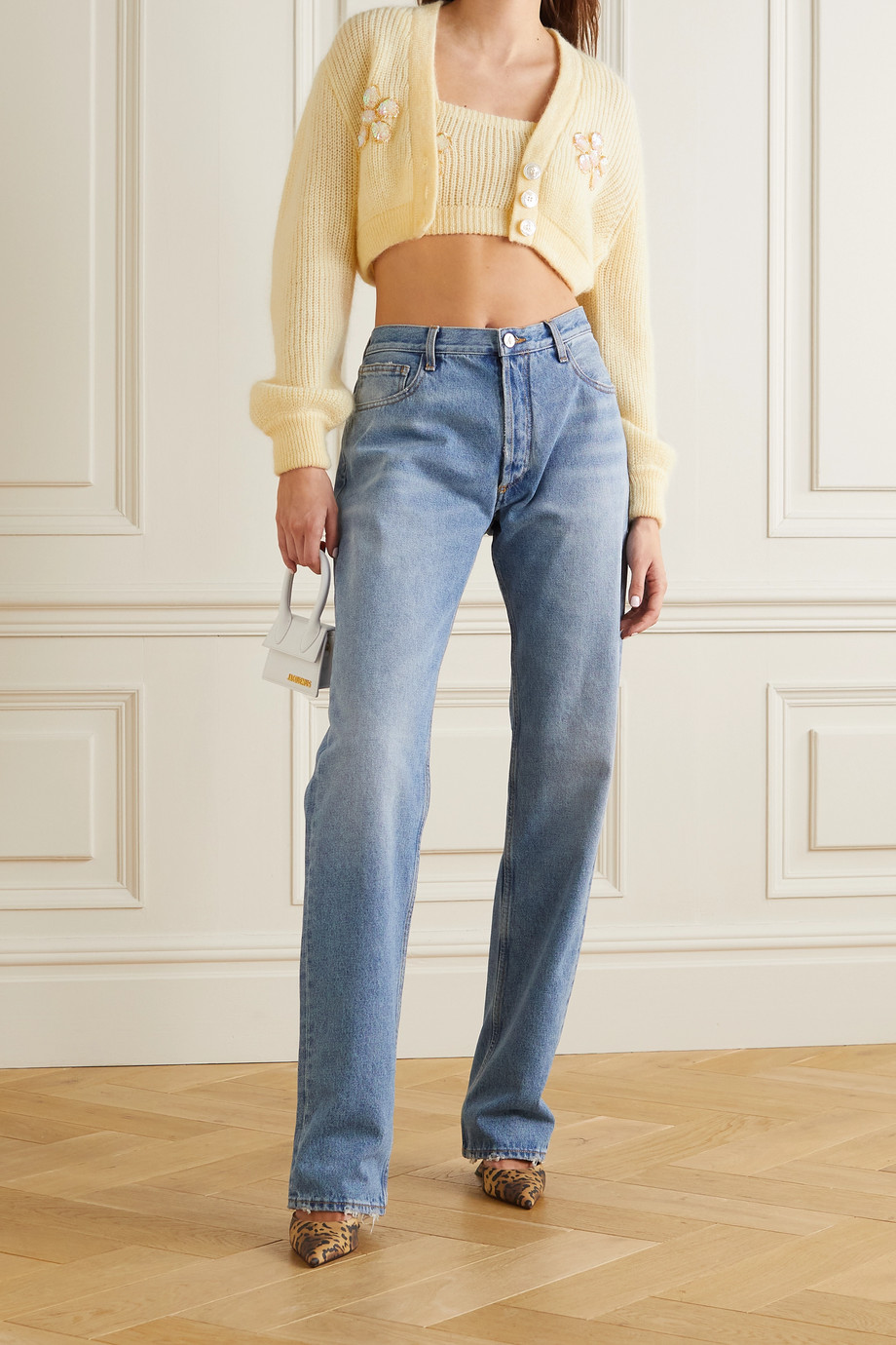 Alessandra Rich Cropped embellished mohair-blend top