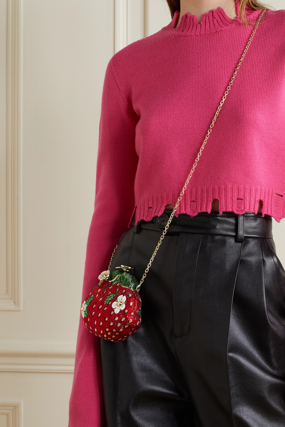 Judith Leiber Couture Strawberry crystal-embellished gold-tone clutch