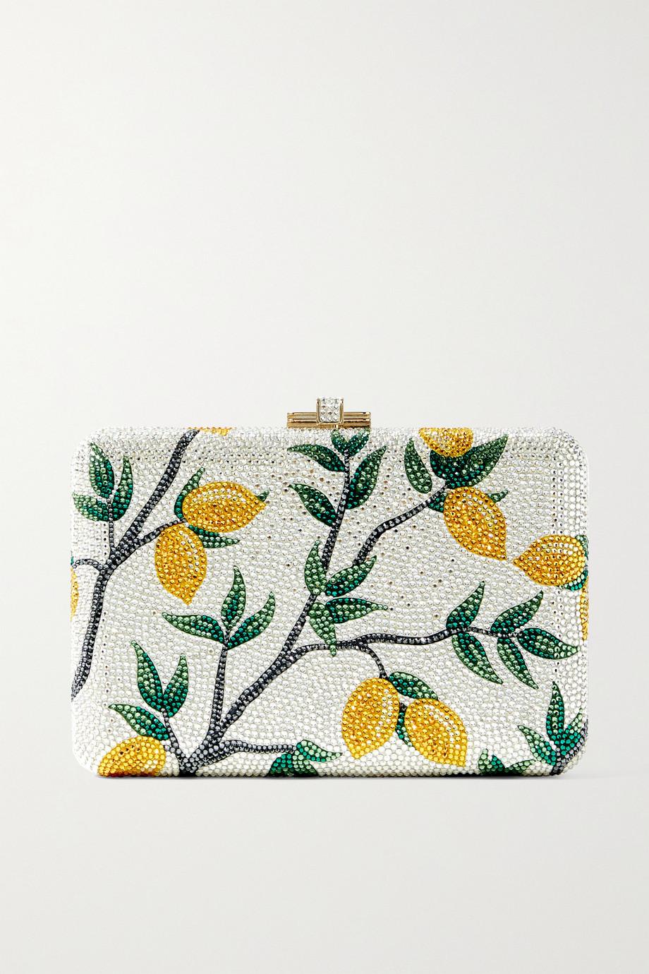 Judith Leiber Couture Pochette en métal doré et cristaux Lemon Tree