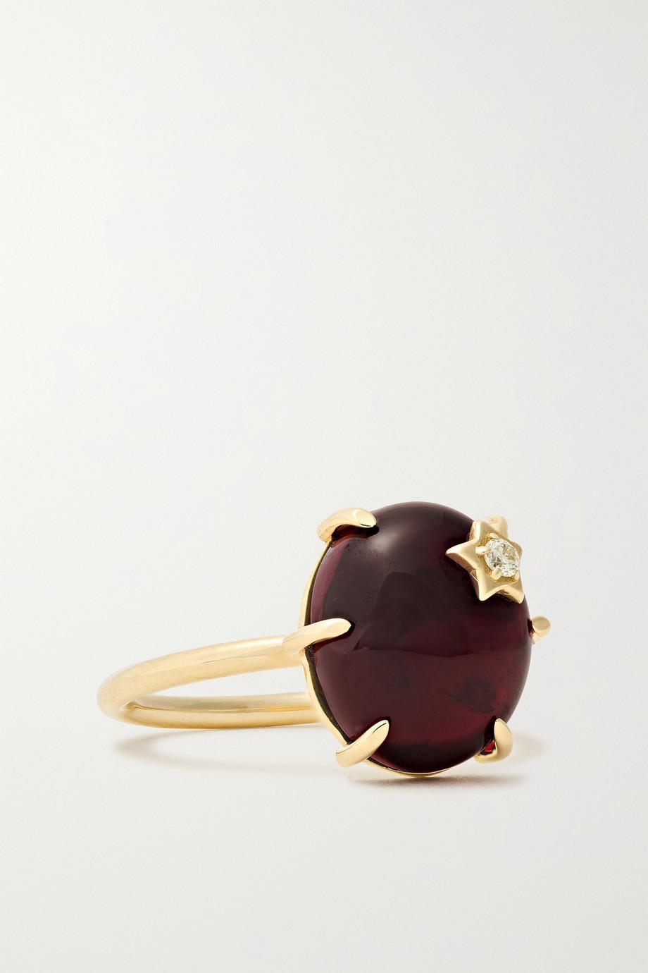 Andrea Fohrman Mini Galaxy 14-karat gold, garnet and diamond ring