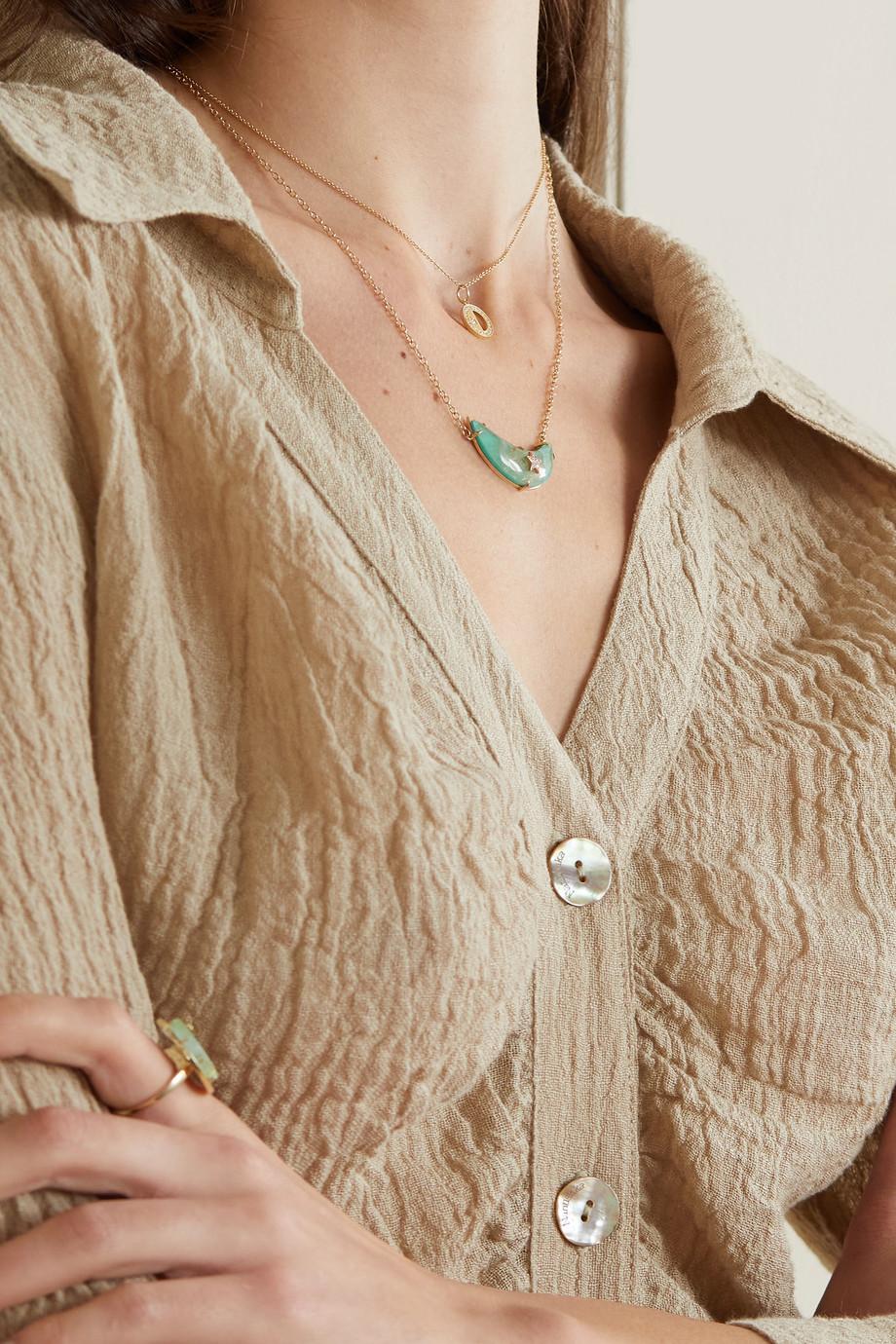 Andrea Fohrman Crescent Moon Kette aus 18 Karat Gold mit mehreren Steinen