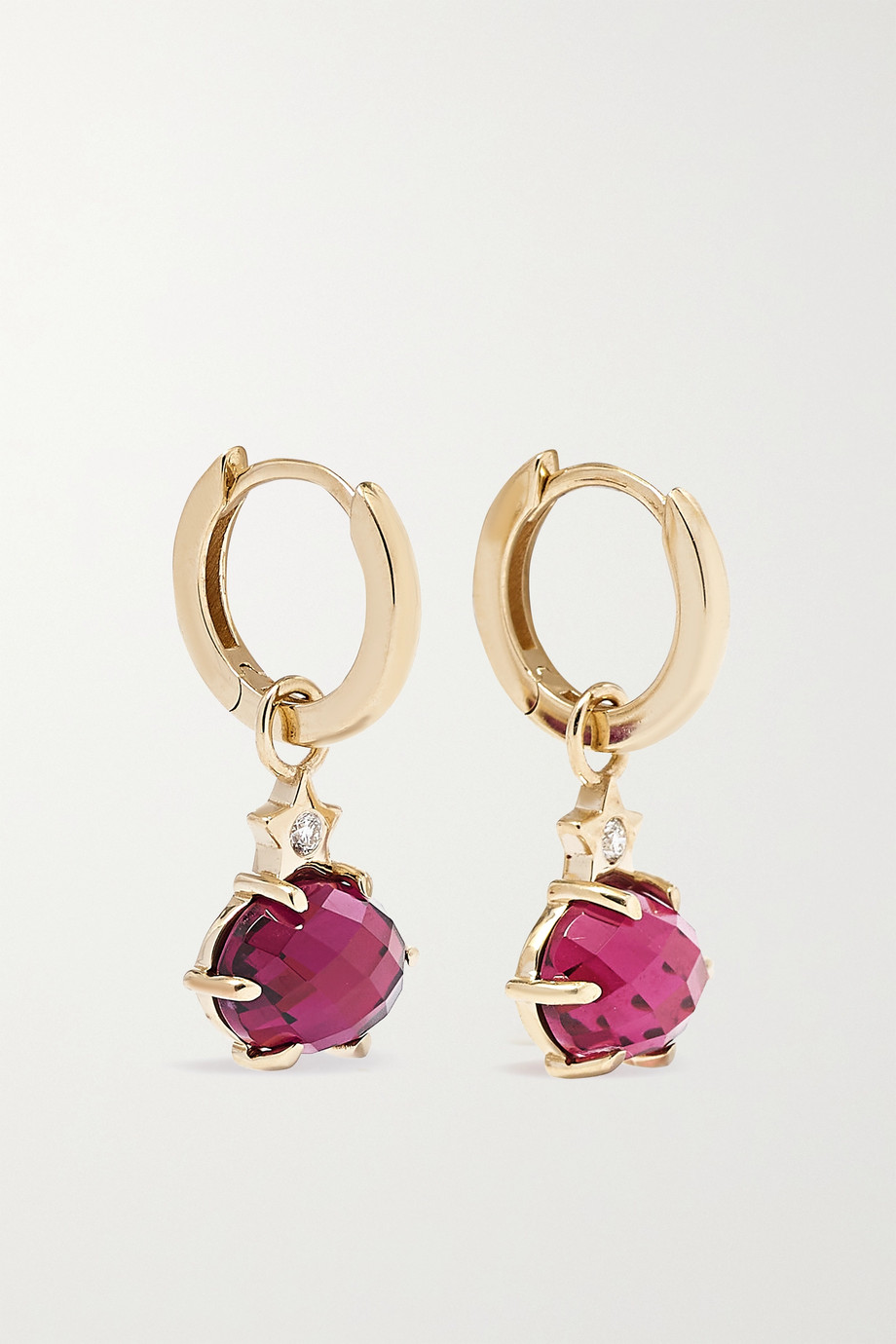Andrea Fohrman Mini Cosmo 14-karat gold, rhodolite garnet and diamond earrings