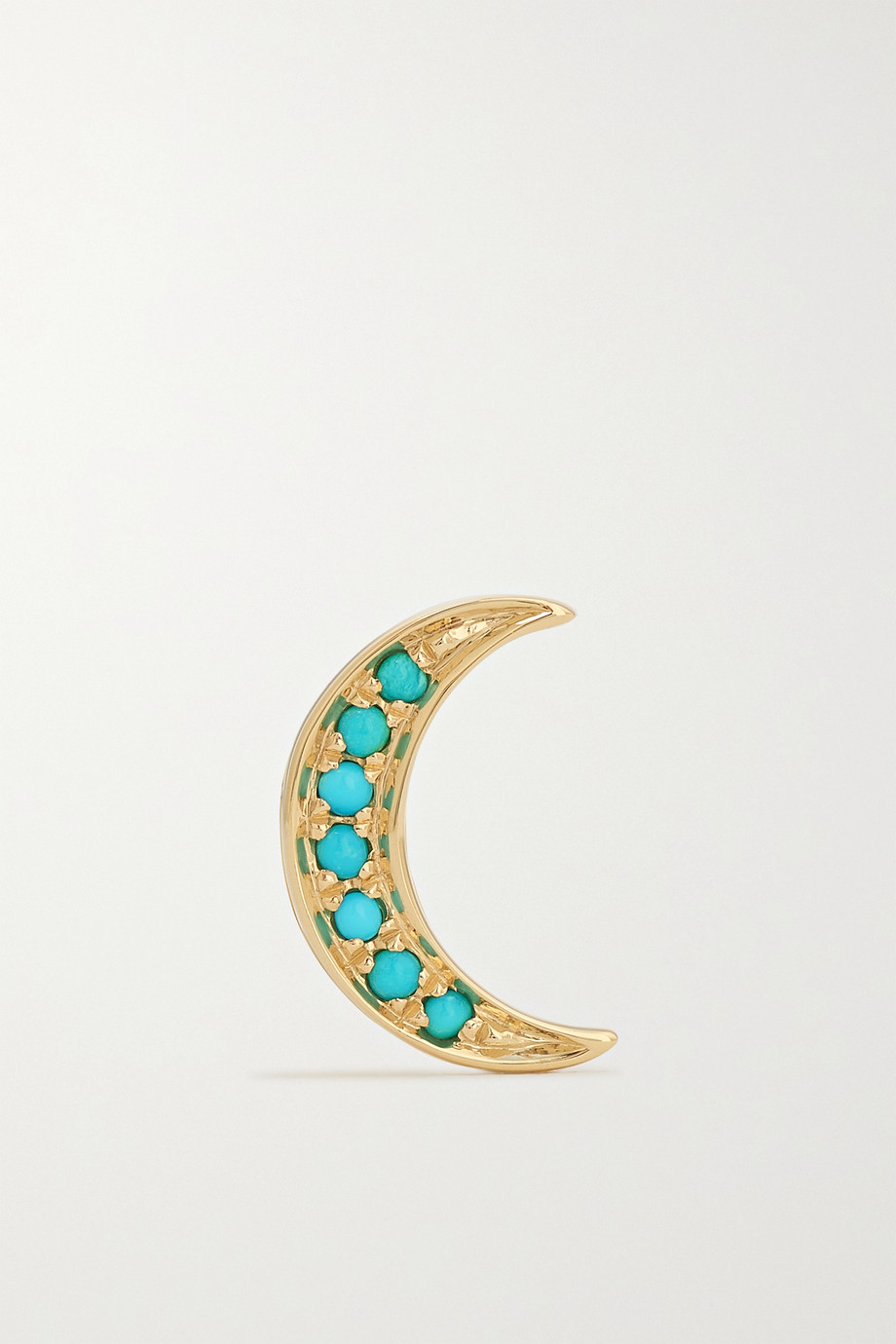 Andrea Fohrman Mini Crescent Ohrring aus 14 Karat Gold mit Türkisen