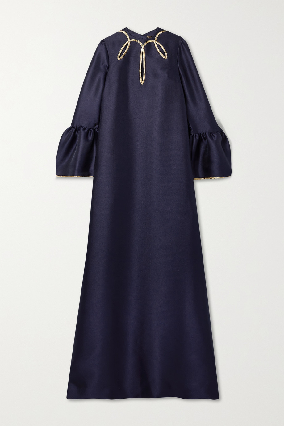 Reem Acra Cutout metallic-trimmed satin-piqué gown