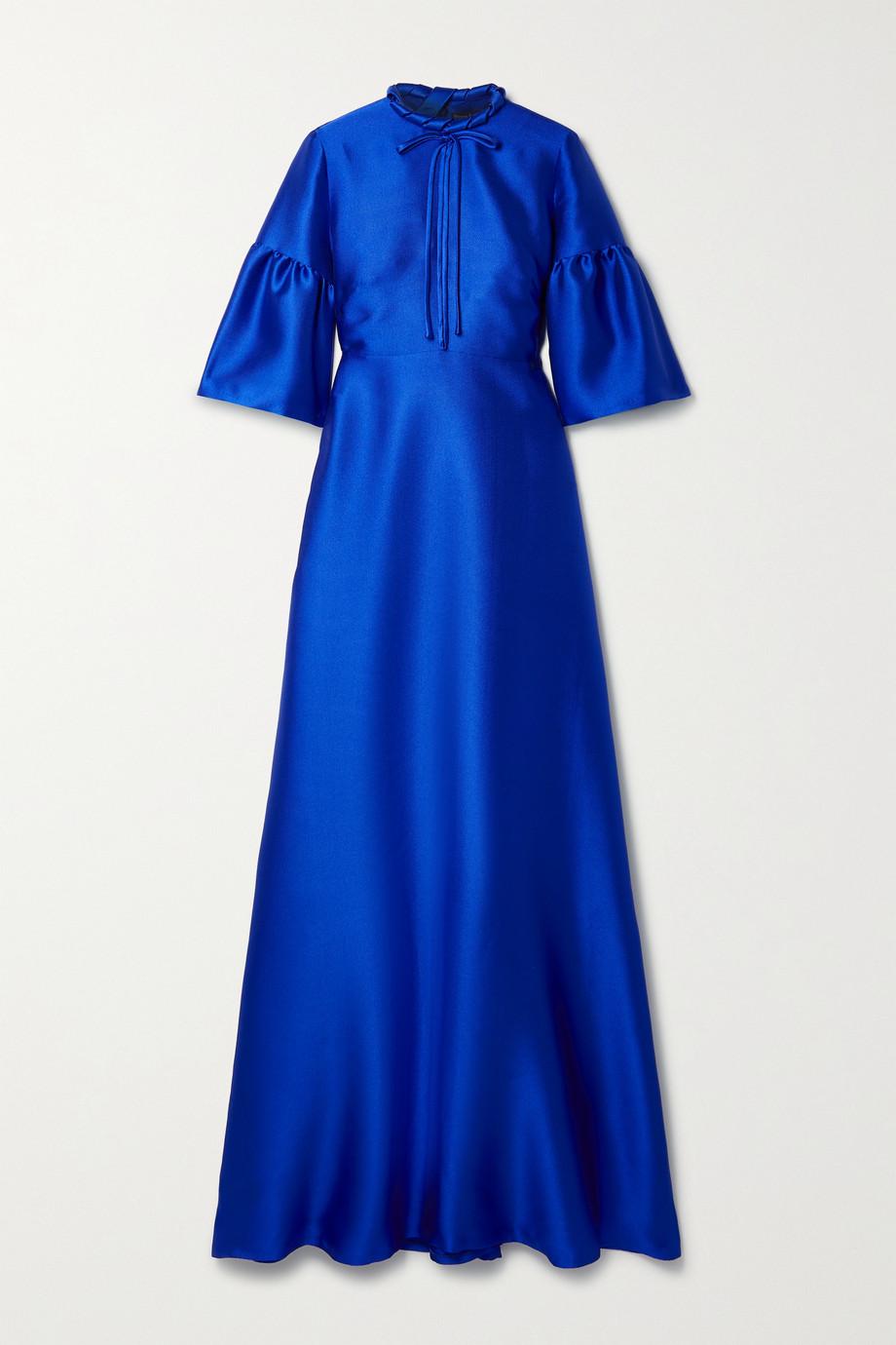 Reem Acra Tie-neck mikado-piqué gown