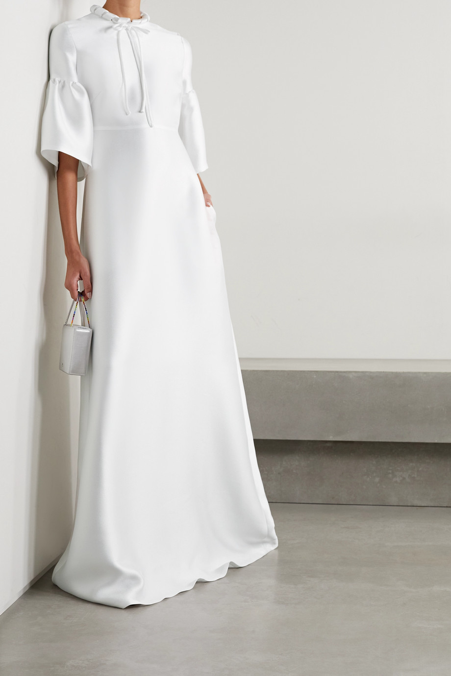 Reem Acra Tie-detailed mikado-piqué gown