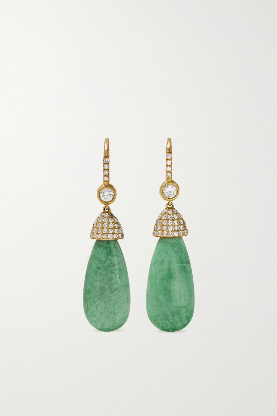Octavia Elizabeth + NET SUSTAIN 18-karat recycled gold, variscite and diamond earrings