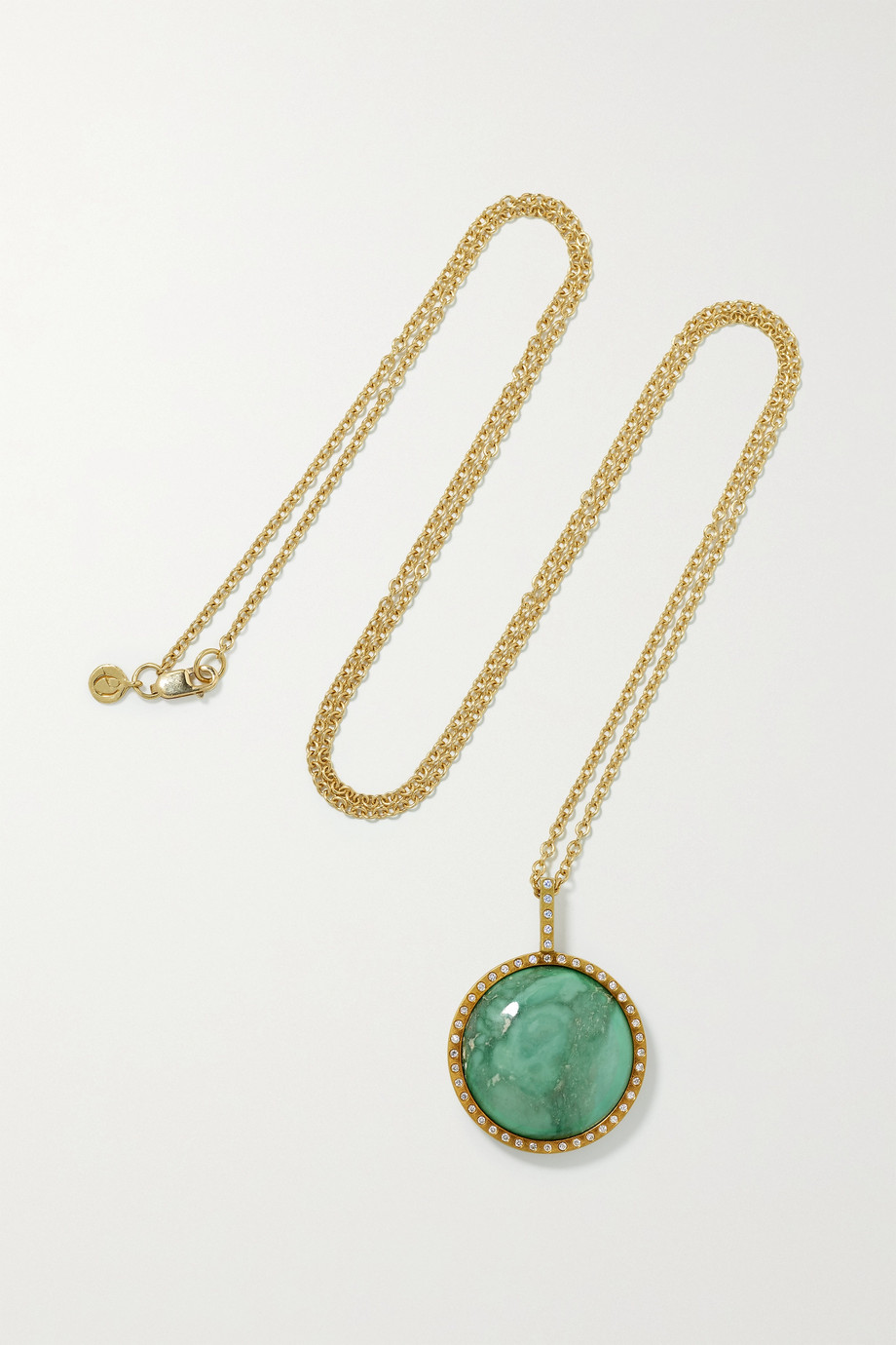 Octavia Elizabeth + NET SUSTAIN 18-karat recycled gold, variscite and diamond necklace