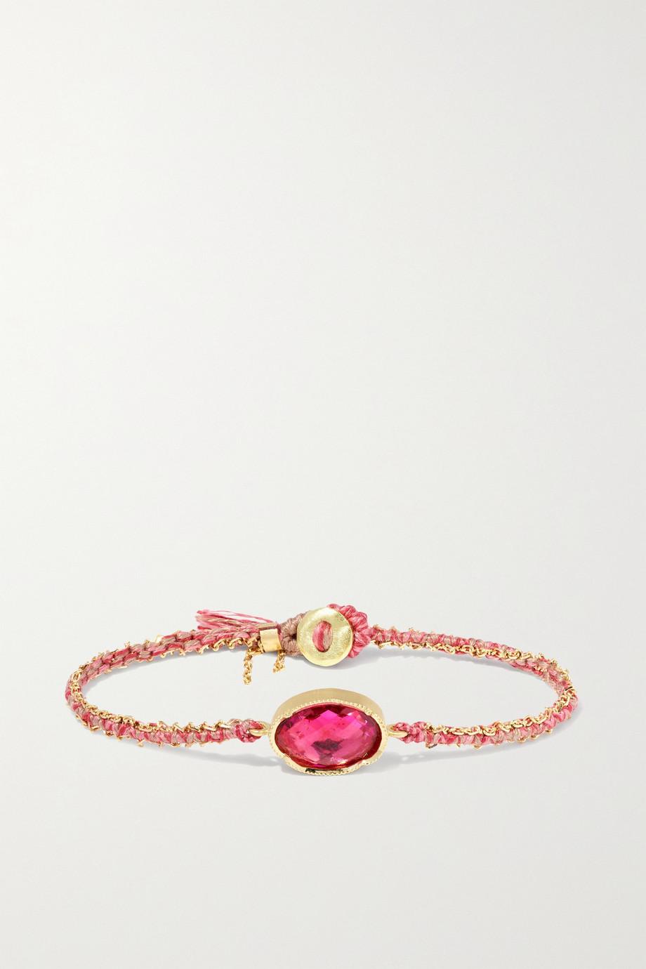 Brooke Gregson Orbit 18-karat gold, silk and tourmaline bracelet