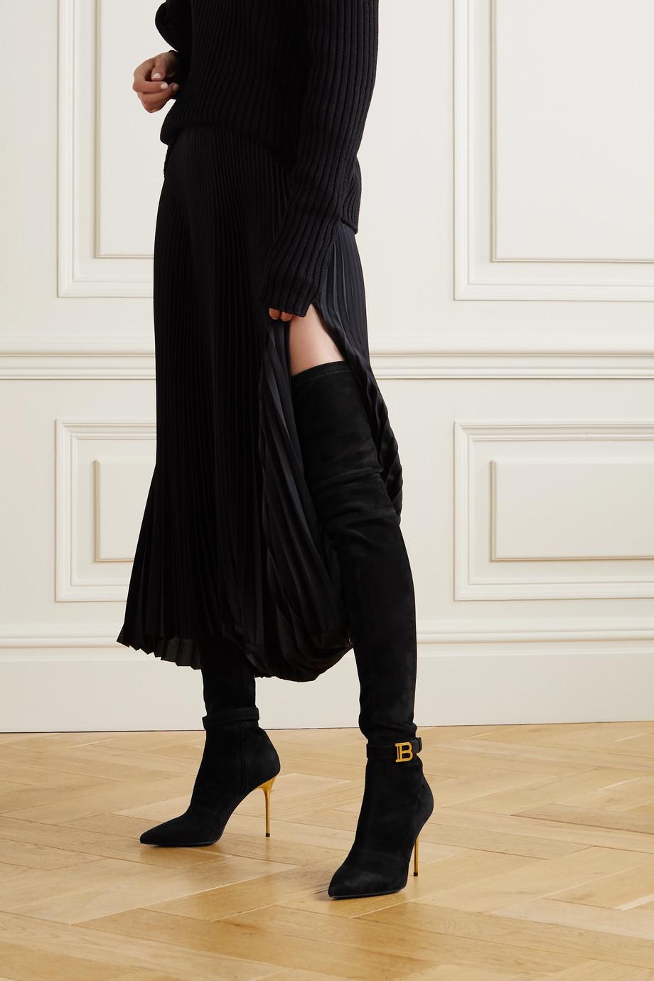 Balmain Raven Overknees aus elastischem Veloursleder mit Logo
