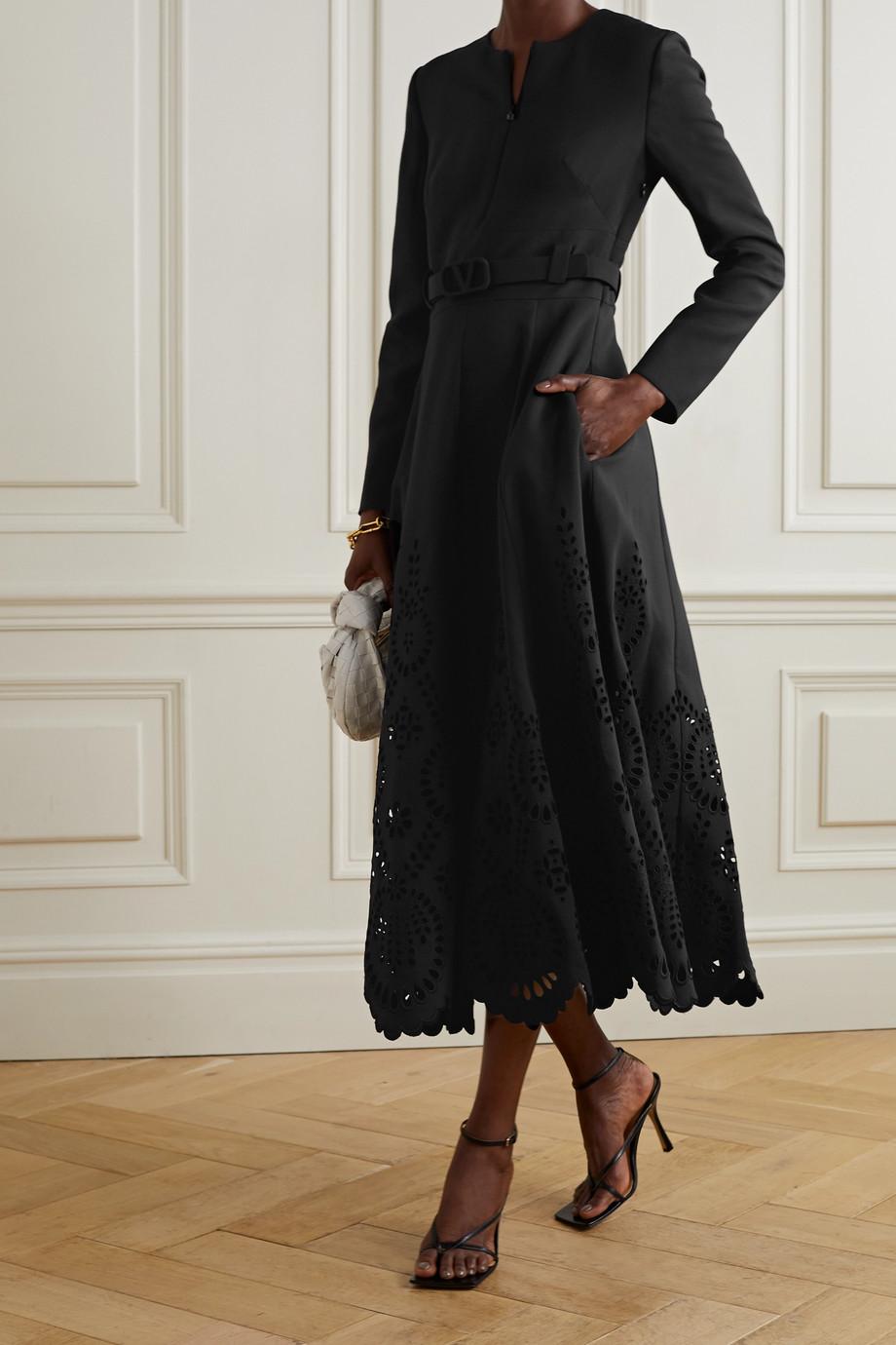 Valentino Robe en crêpe de laine et soie mélangées à finitions en broderie anglaise