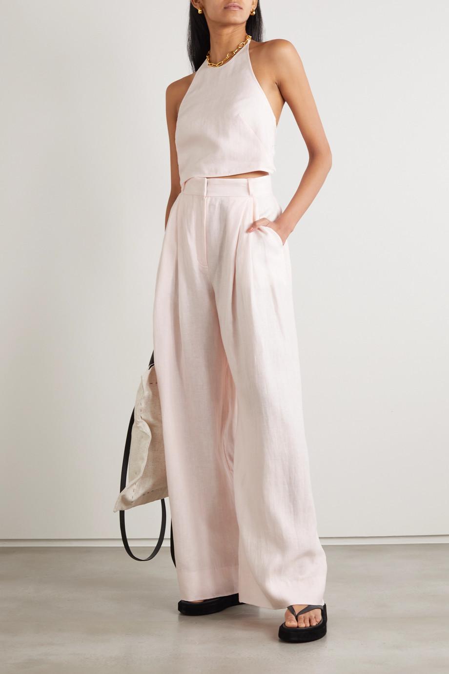 Three Graces London Molly pleated linen wide-leg pants