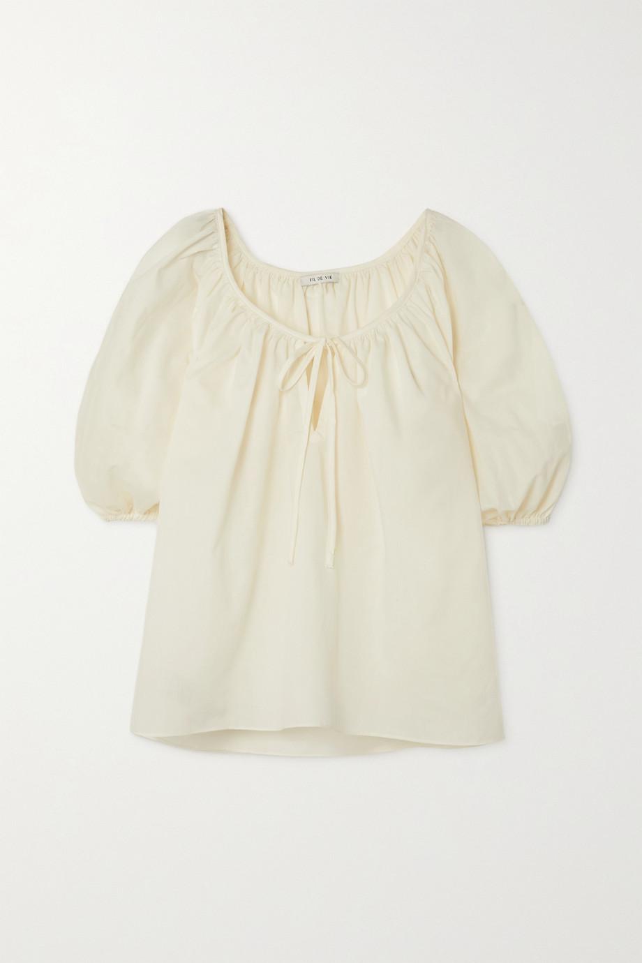 Fil De Vie Juno gathered poplin blouse