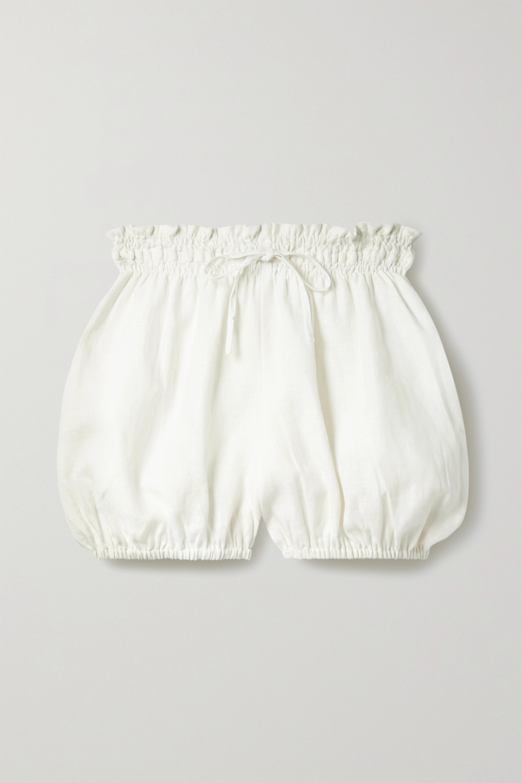 Fil De Vie - + NET SUSTAIN Anona gathered linen shorts
