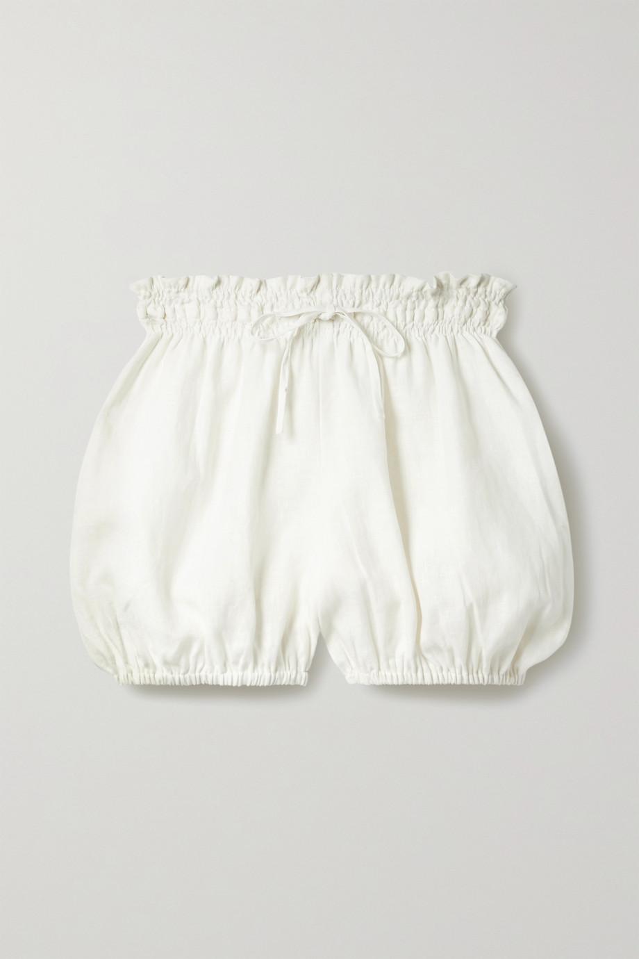 Fil De Vie + NET SUSTAIN Anona geraffte Shorts aus Leinen