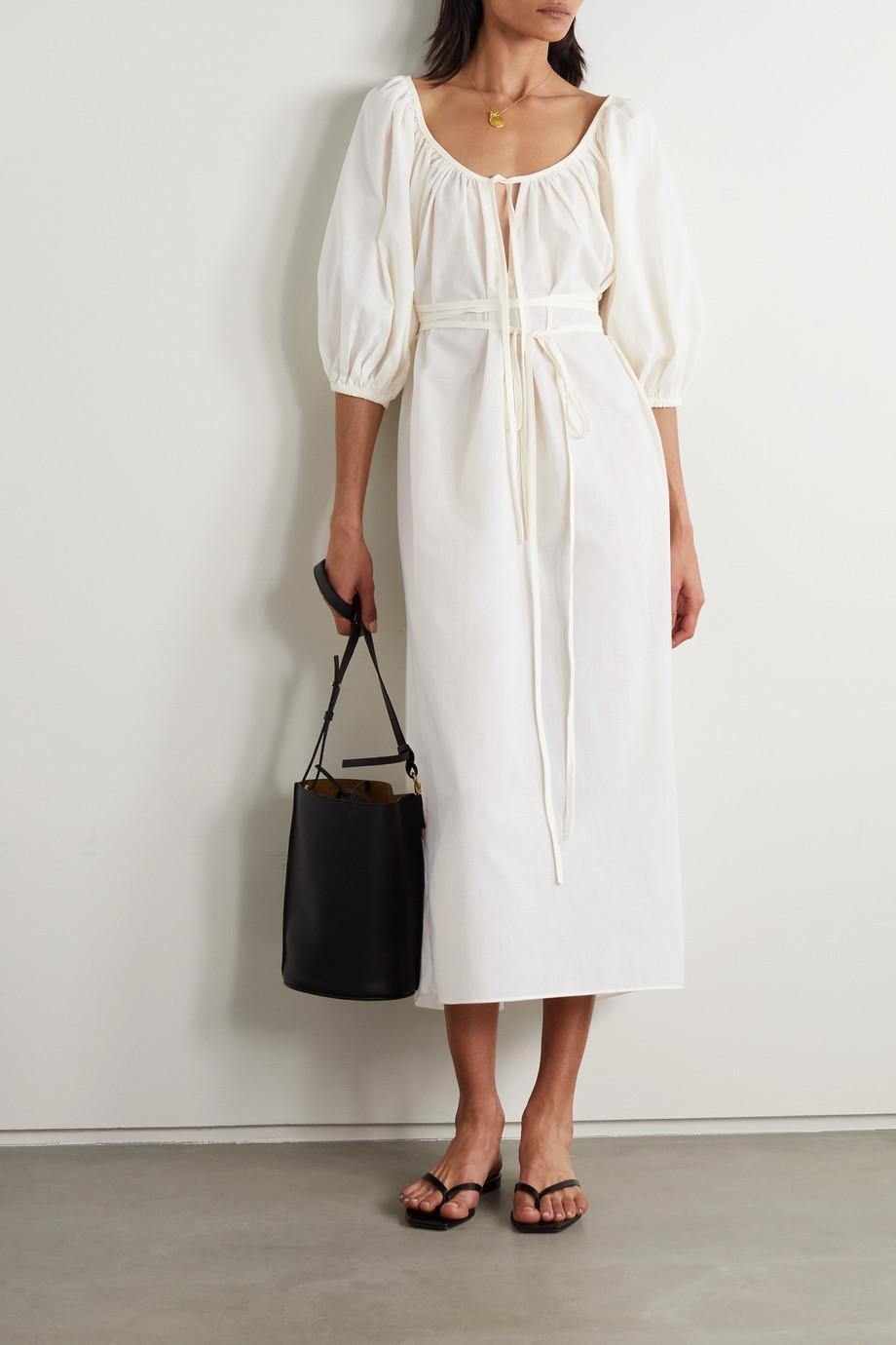 Fil De Vie Aurora Kleid aus Popeline mit Raffungen und Bindegürtel